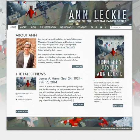 Ann Leckie Website Screenshot